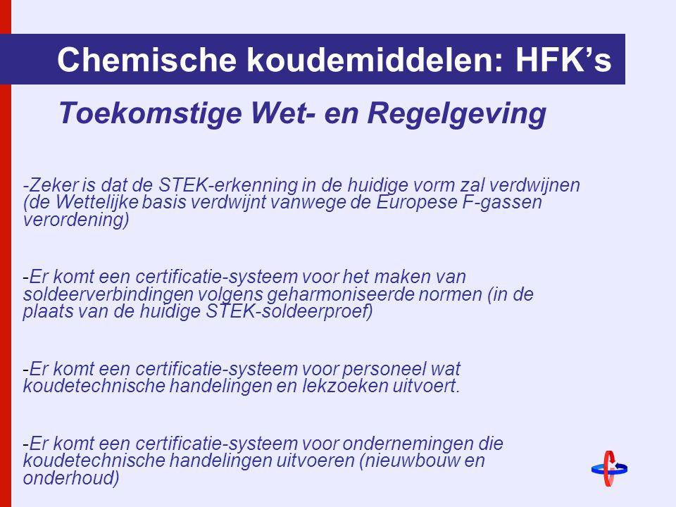 Chemische koudemiddelen: HFK's Toekomstige Wet- en Regelgeving -Zeker is dat de STEK-erkenning in de huidige vorm zal verdwijnen (de Wettelijke basis verdwijnt vanwege de Europese F-gassen verordening) -Er komt een certificatie-systeem voor het maken van soldeerverbindingen volgens geharmoniseerde normen (in de plaats van de huidige STEK-soldeerproef) -Er komt een certificatie-systeem voor personeel wat koudetechnische handelingen en lekzoeken uitvoert.