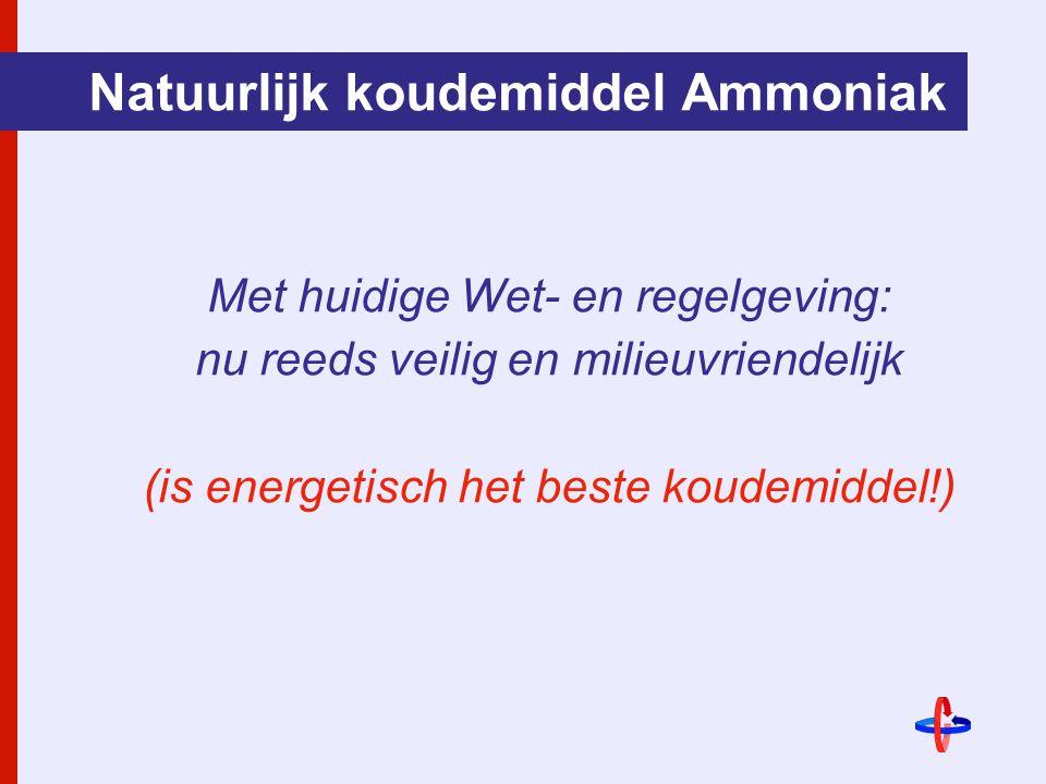 Natuurlijk koudemiddel Ammoniak Met huidige Wet- en regelgeving: nu reeds veilig en milieuvriendelijk (is energetisch het beste koudemiddel!)
