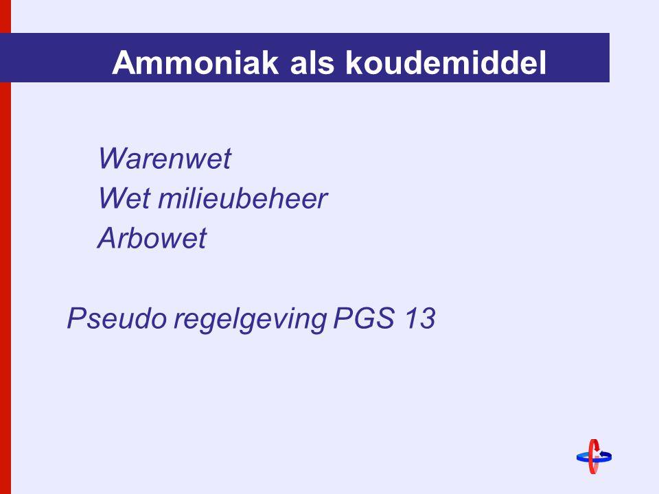 Ammoniak als koudemiddel Warenwet Wet milieubeheer Arbowet Pseudo regelgeving PGS 13