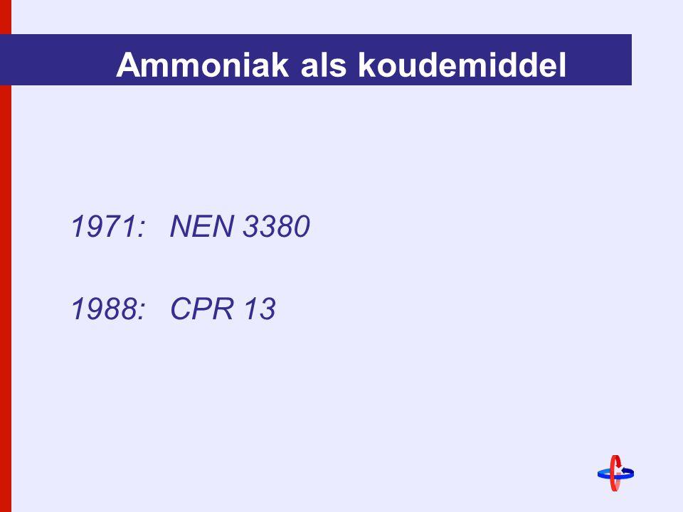 Ammoniak als koudemiddel 1971:NEN 3380 1988:CPR 13