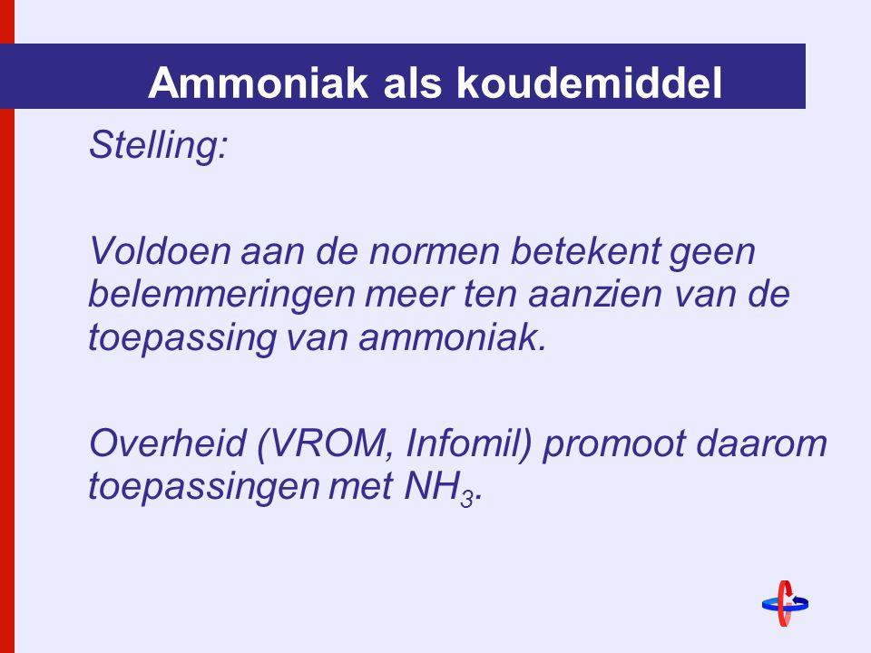 Ammoniak als koudemiddel Stelling: Voldoen aan de normen betekent geen belemmeringen meer ten aanzien van de toepassing van ammoniak.