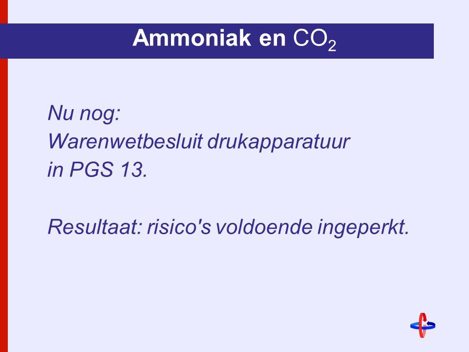 Ammoniak en CO 2 Nu nog: Warenwetbesluit drukapparatuur in PGS 13.