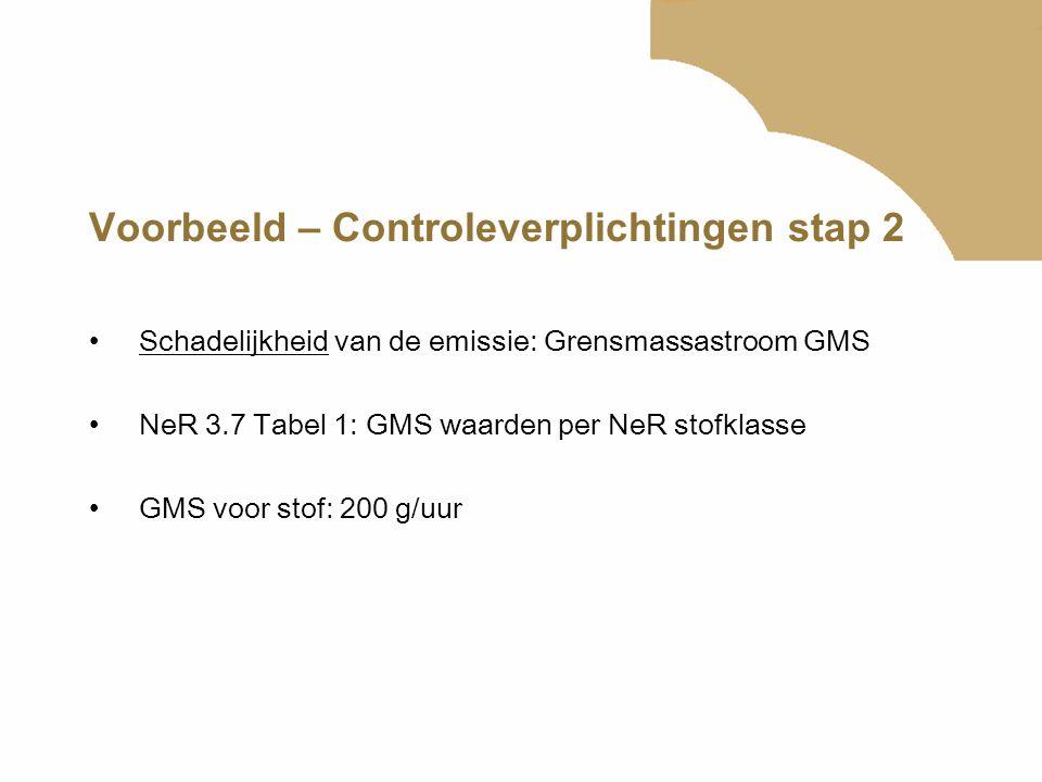 Voorbeeld – Controleverplichtingen stap 2 Schadelijkheid van de emissie: Grensmassastroom GMS NeR 3.7 Tabel 1: GMS waarden per NeR stofklasse GMS voor