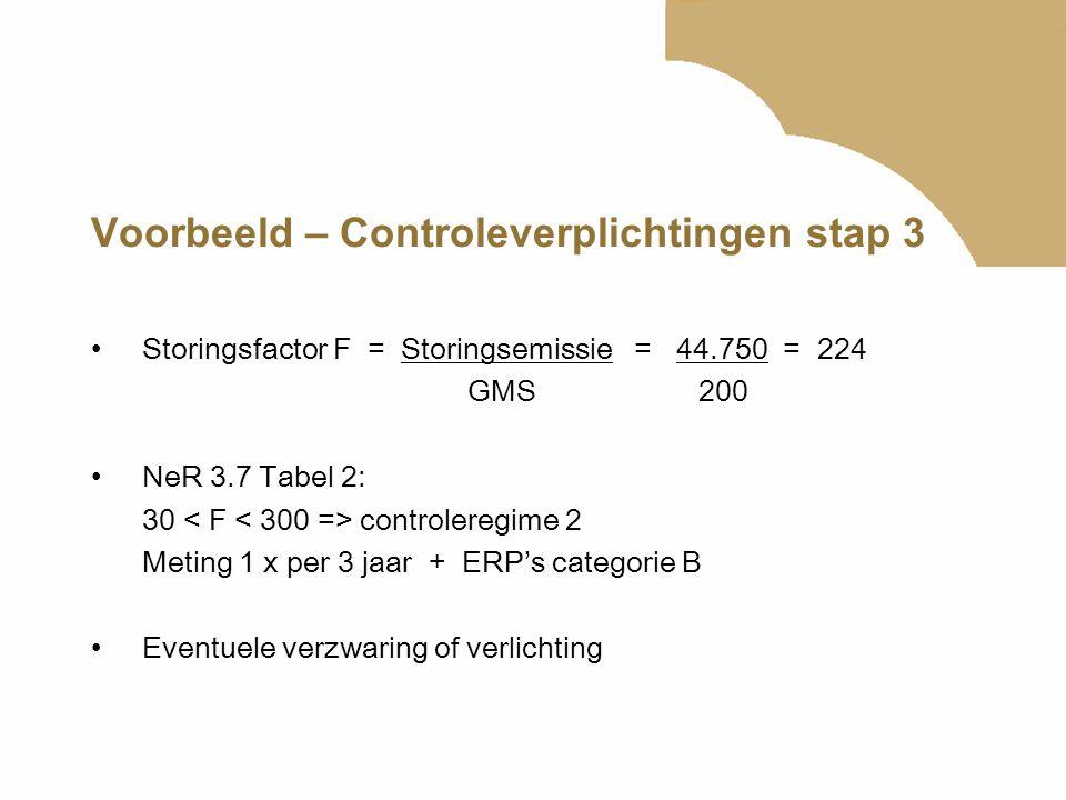 Voorbeeld – Controleverplichtingen stap 3 Storingsfactor F = Storingsemissie = 44.750 = 224 GMS 200 NeR 3.7 Tabel 2: 30 controleregime 2 Meting 1 x pe