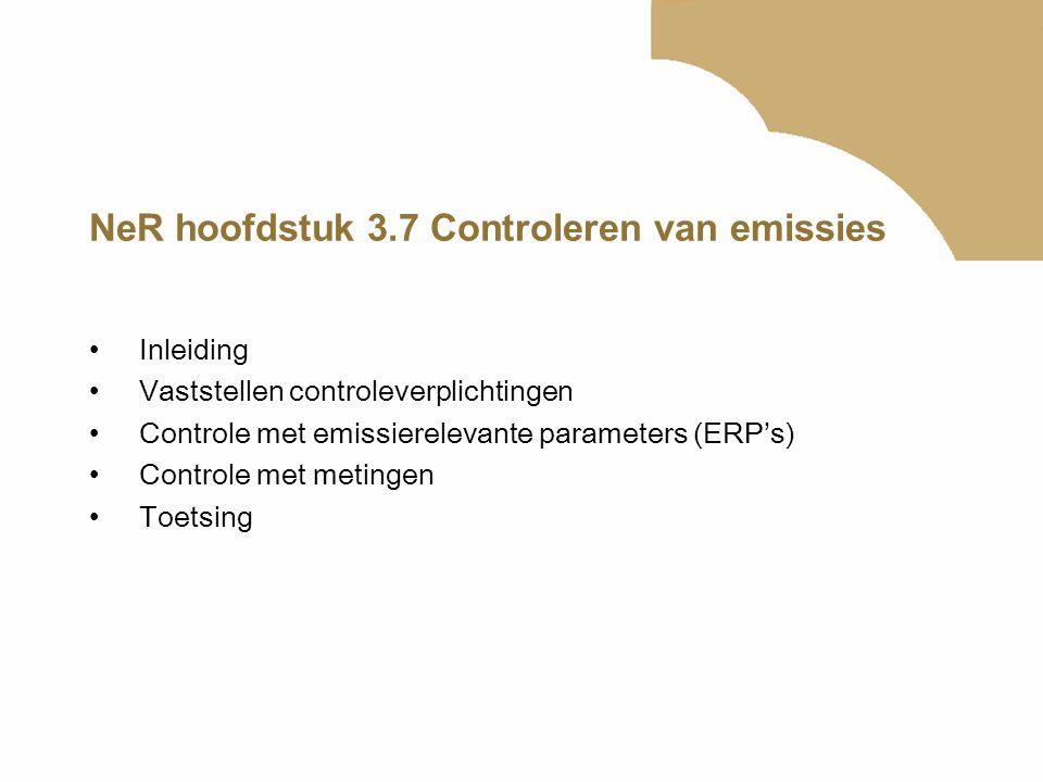 NeR hoofdstuk 3.7 Controleren van emissies Inleiding Vaststellen controleverplichtingen Controle met emissierelevante parameters (ERP's) Controle met