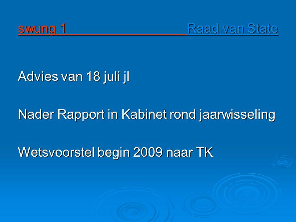 swung 1 Raad van State Advies van 18 juli jl Nader Rapport in Kabinet rond jaarwisseling Wetsvoorstel begin 2009 naar TK