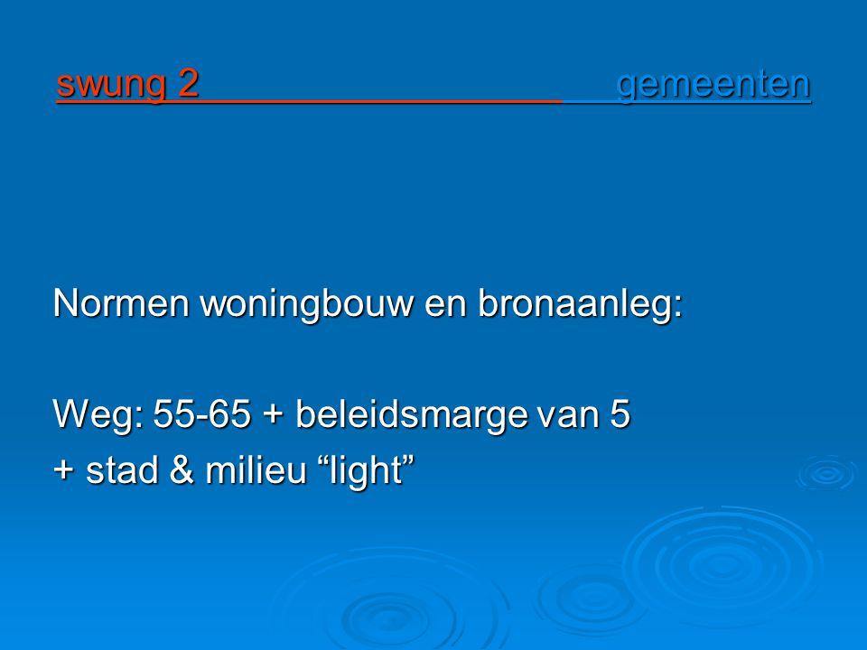 swung 2 gemeenten Normen woningbouw en bronaanleg: Weg: 55-65 + beleidsmarge van 5 + stad & milieu light