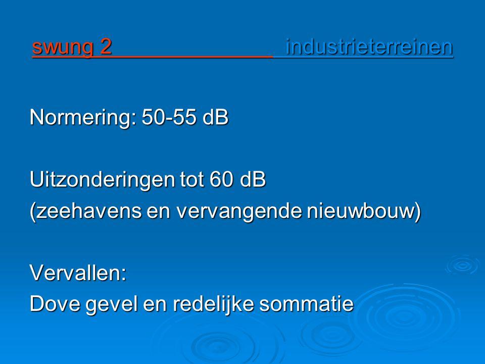 swung 2 industrieterreinen Normering: 50-55 dB Uitzonderingen tot 60 dB (zeehavens en vervangende nieuwbouw) Vervallen: Dove gevel en redelijke sommatie