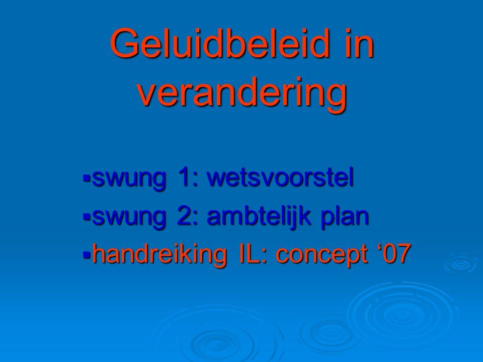 Geluidbeleid in verandering  swung 1: wetsvoorstel  swung 2: ambtelijk plan  handreiking IL: concept '07