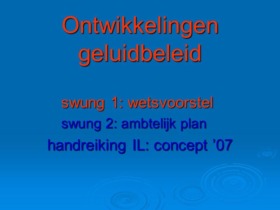 Ontwikkelingen geluidbeleid swung 1: wetsvoorstel swung 2: ambtelijk plan handreiking IL: concept '07