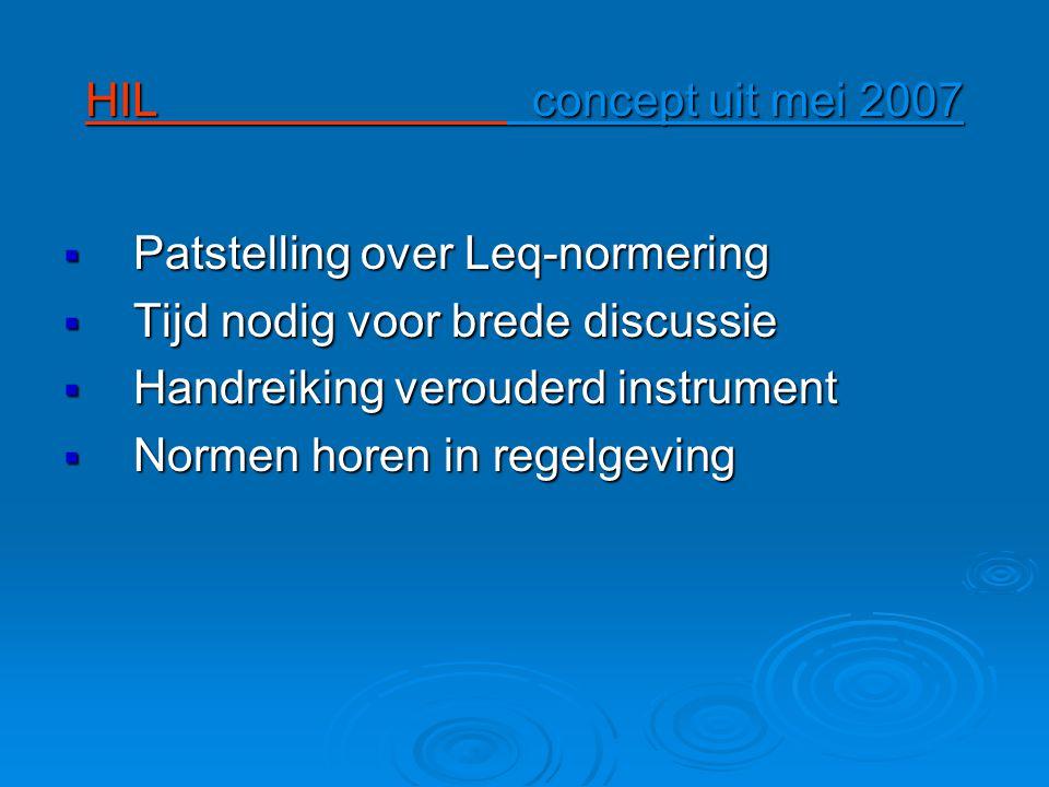 HIL concept uit mei 2007  Patstelling over Leq-normering  Tijd nodig voor brede discussie  Handreiking verouderd instrument  Normen horen in regelgeving