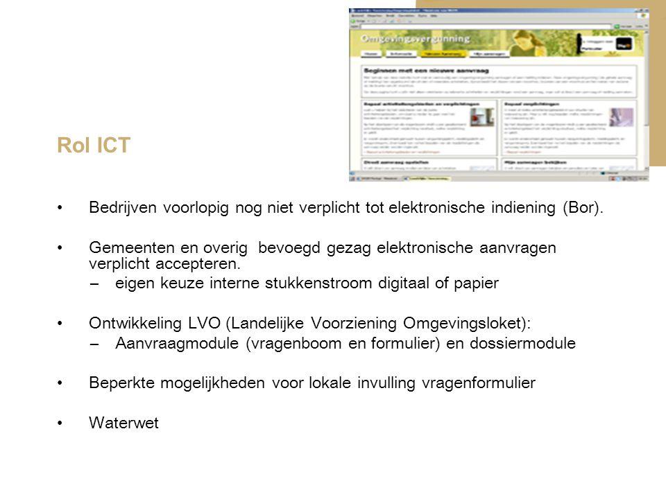 Rol ICT Bedrijven voorlopig nog niet verplicht tot elektronische indiening (Bor). Gemeenten en overig bevoegd gezag elektronische aanvragen verplicht