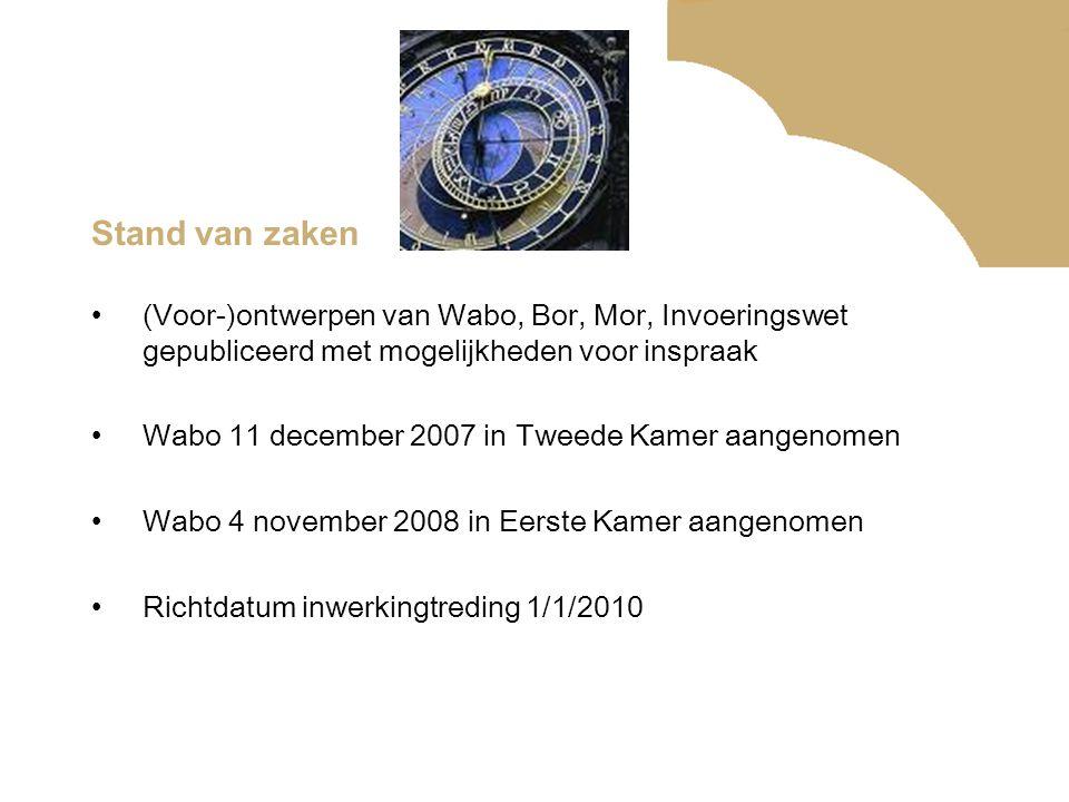 Stand van zaken (Voor-)ontwerpen van Wabo, Bor, Mor, Invoeringswet gepubliceerd met mogelijkheden voor inspraak Wabo 11 december 2007 in Tweede Kamer
