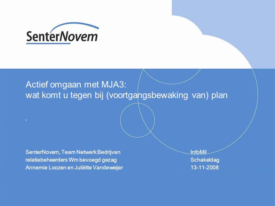 Actief omgaan met MJA3: wat komt u tegen bij (voortgangsbewaking van) plan ' SenterNovem, Team Netwerk BedrijvenInfoMil relatiebeheerders Wm bevoegd g