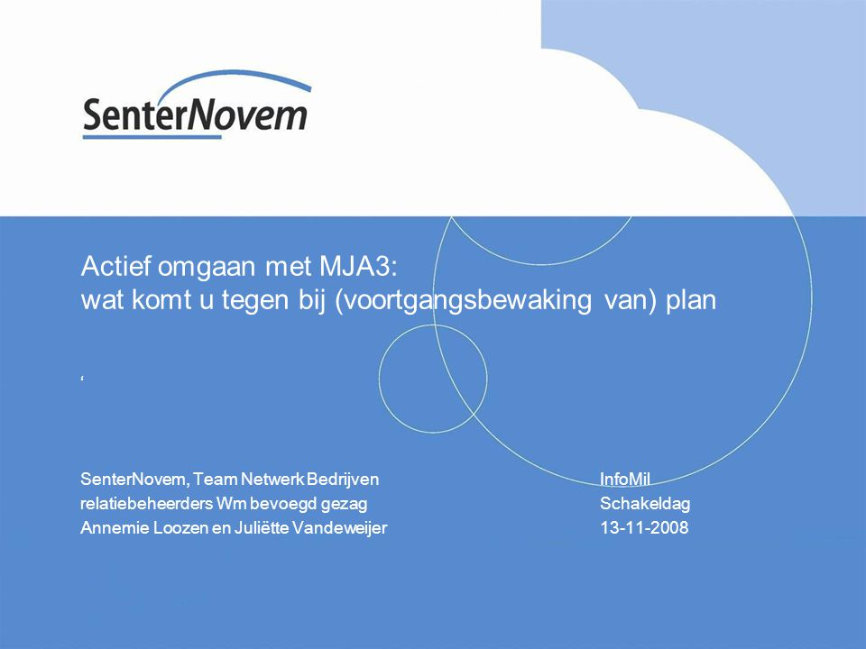 32 8.2 Wetenswaardigheden SenterNovem, Team Netwerk Bedrijven voert Programma MJA-facilitering uit www.senternovem.nl/mja Informatiepunt SenterNovem: (030) 239 35 33 MJA-relatiebeheerder 'Wet milieubeheer bevoegd gezag': Annemie Loozen, 046 – 4 202 282, a.loozen@senternovem.nl Juliëtte Vandeweijer, 046 – 4 202 340, j.vandeweijer@senternovem.nl