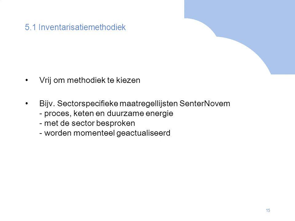 15 5.1 Inventarisatiemethodiek Vrij om methodiek te kiezen Bijv. Sectorspecifieke maatregellijsten SenterNovem - proces, keten en duurzame energie - m