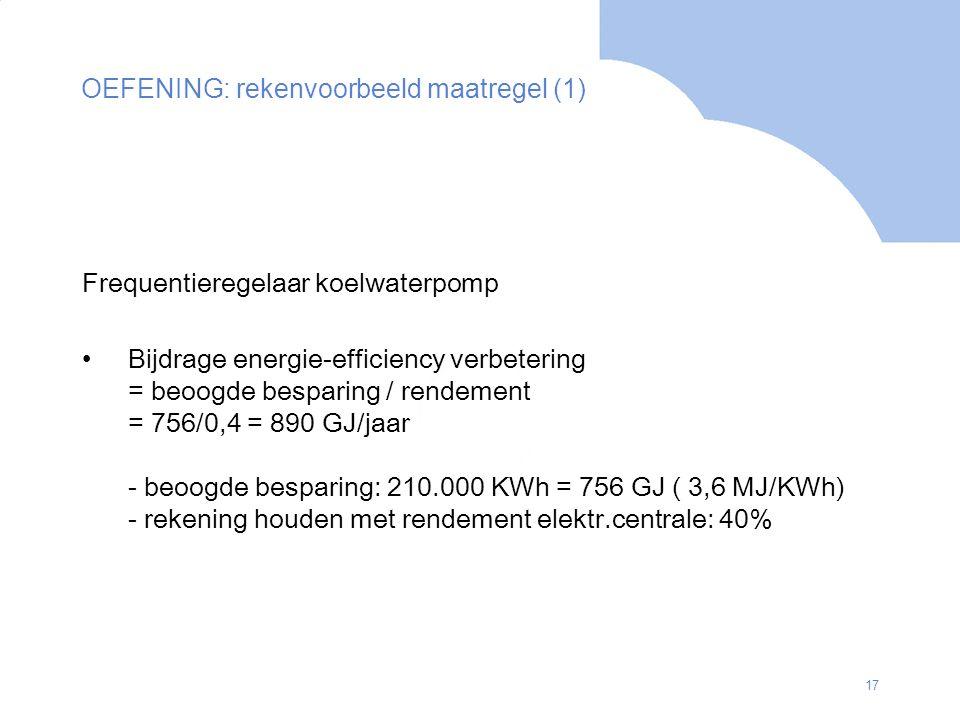 17 OEFENING: rekenvoorbeeld maatregel (1) Frequentieregelaar koelwaterpomp Bijdrage energie-efficiency verbetering = beoogde besparing / rendement = 7