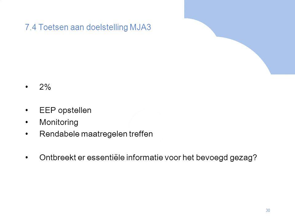 30 7.4 Toetsen aan doelstelling MJA3 2% EEP opstellen Monitoring Rendabele maatregelen treffen Ontbreekt er essentiële informatie voor het bevoegd gez