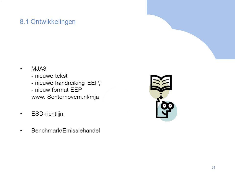 31 8.1 Ontwikkelingen MJA3 - nieuwe tekst - nieuwe handreiking EEP; - nieuw format EEP www. Senternovem.nl/mja ESD-richtlijn Benchmark/Emissiehandel