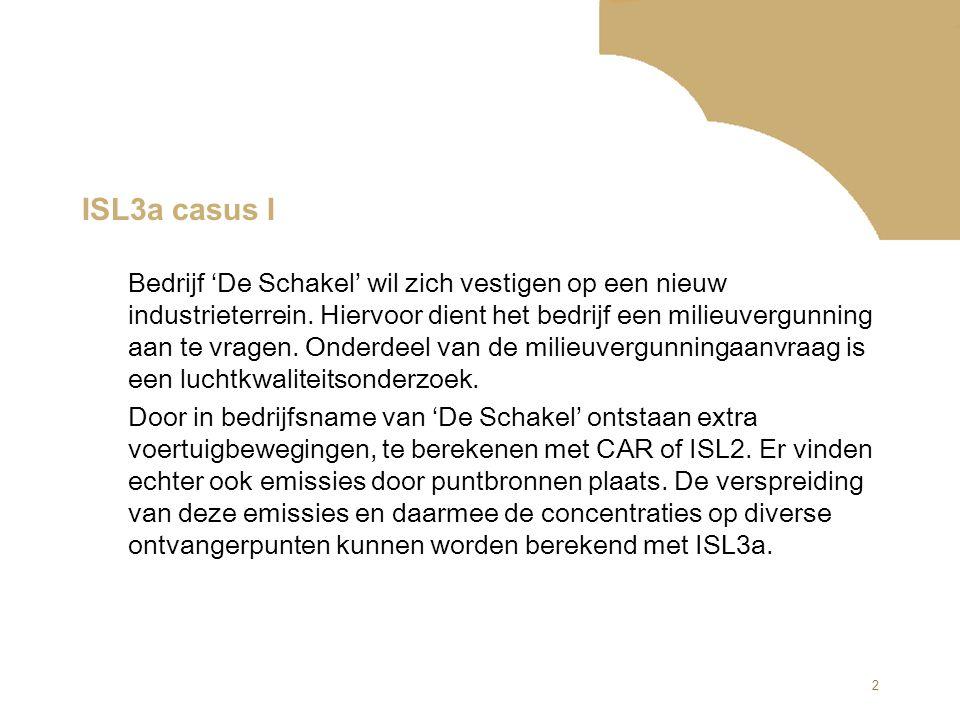 2 ISL3a casus I Bedrijf 'De Schakel' wil zich vestigen op een nieuw industrieterrein. Hiervoor dient het bedrijf een milieuvergunning aan te vragen. O