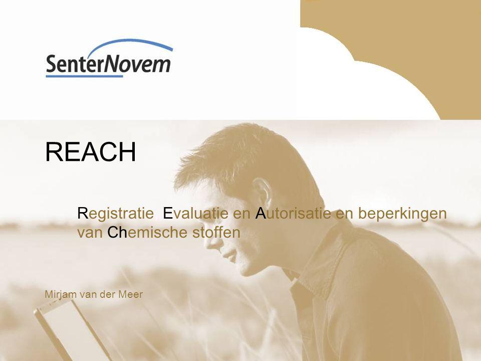 2 Inhoud presentatie Waarom REACH.Wie krijgt te maken met REACH.