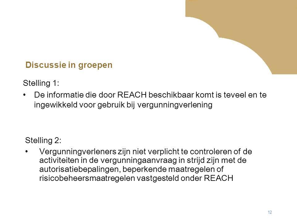 12 Discussie in groepen Stelling 2: Vergunningverleners zijn niet verplicht te controleren of de activiteiten in de vergunningaanvraag in strijd zijn met de autorisatiebepalingen, beperkende maatregelen of risicobeheersmaatregelen vastgesteld onder REACH Stelling 1: De informatie die door REACH beschikbaar komt is teveel en te ingewikkeld voor gebruik bij vergunningverlening