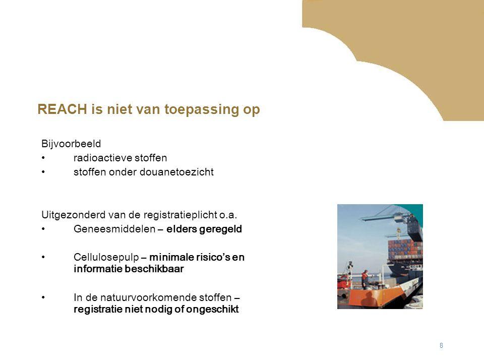 8 REACH is niet van toepassing op Bijvoorbeeld radioactieve stoffen stoffen onder douanetoezicht Uitgezonderd van de registratieplicht o.a.