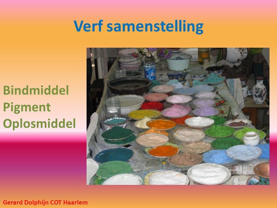 Verf samenstelling Bindmiddel Pigment Oplosmiddel Gerard Dolphijn COT Haarlem
