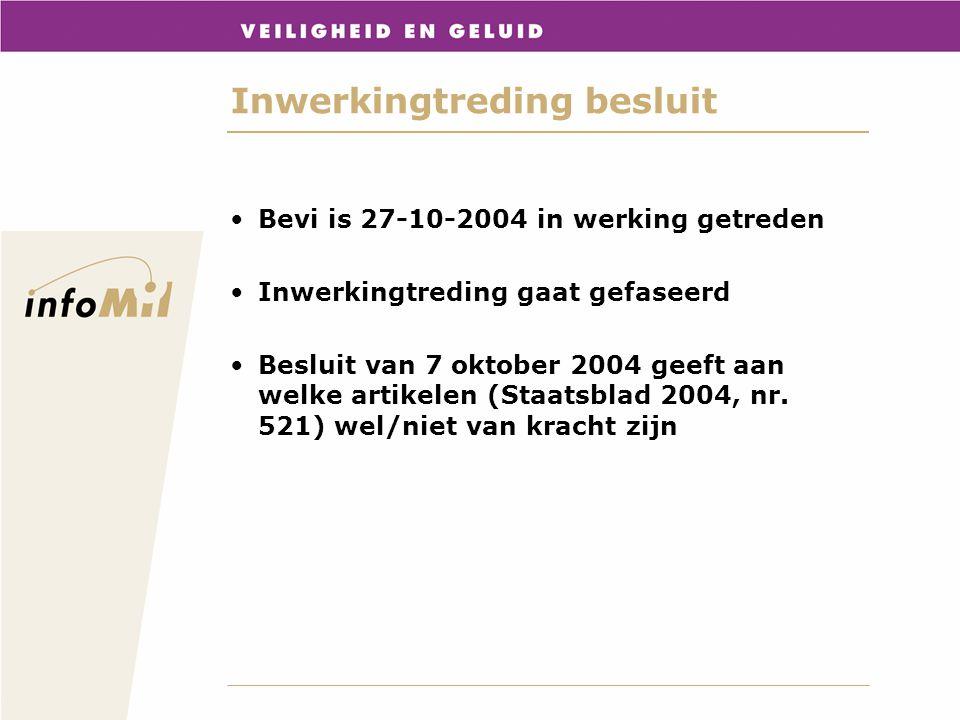 Inwerkingtreding besluit Bevi is 27-10-2004 in werking getreden Inwerkingtreding gaat gefaseerd Besluit van 7 oktober 2004 geeft aan welke artikelen (
