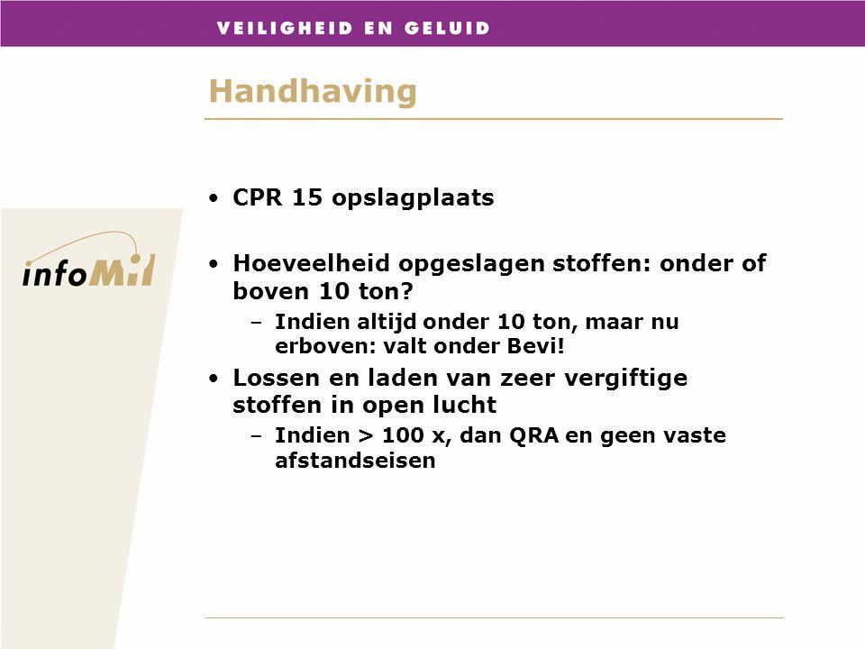 Handhaving CPR 15 opslagplaats Hoeveelheid opgeslagen stoffen: onder of boven 10 ton? –Indien altijd onder 10 ton, maar nu erboven: valt onder Bevi! L