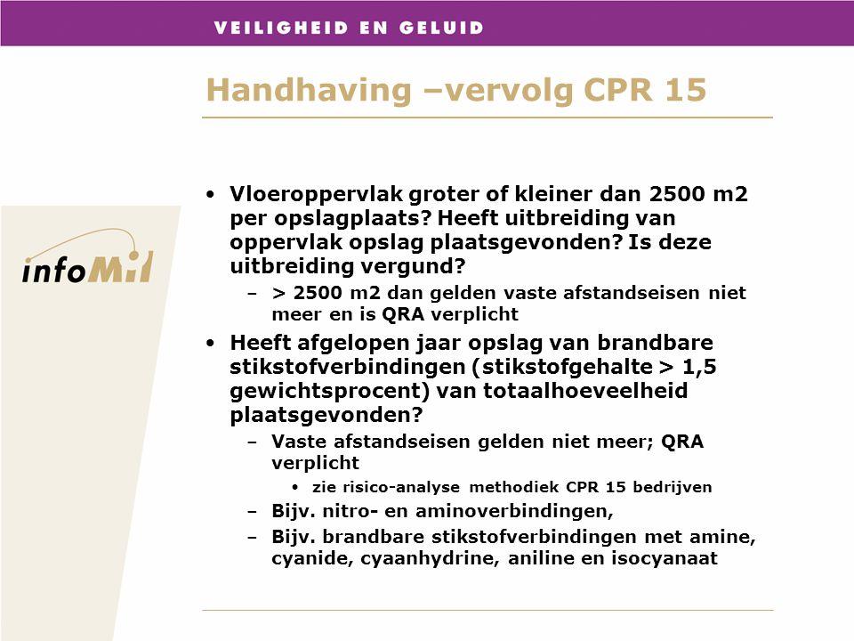 Handhaving –vervolg CPR 15 Vloeroppervlak groter of kleiner dan 2500 m2 per opslagplaats? Heeft uitbreiding van oppervlak opslag plaatsgevonden? Is de