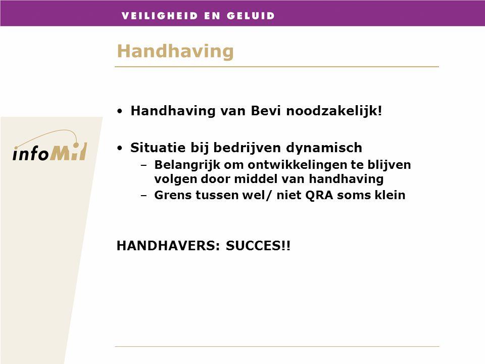 Handhaving Handhaving van Bevi noodzakelijk! Situatie bij bedrijven dynamisch –Belangrijk om ontwikkelingen te blijven volgen door middel van handhavi
