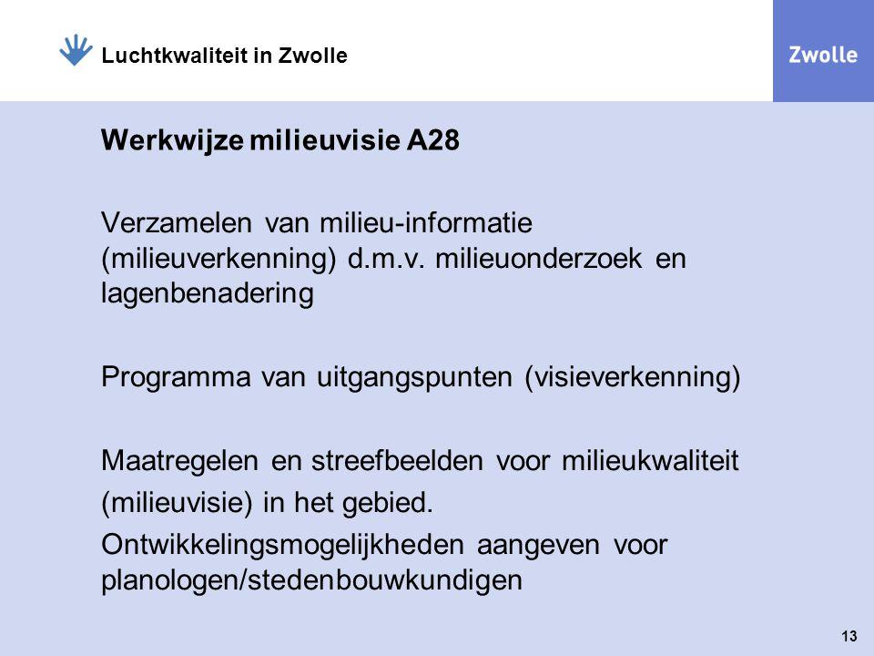 13 Luchtkwaliteit in Zwolle Werkwijze milieuvisie A28 Verzamelen van milieu-informatie (milieuverkenning) d.m.v. milieuonderzoek en lagenbenadering Pr