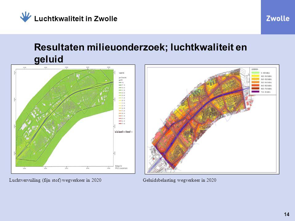 14 Luchtkwaliteit in Zwolle Resultaten milieuonderzoek; luchtkwaliteit en geluid Luchtvervuiling (fijn stof) wegverkeer in 2020Geluidsbelasting wegver