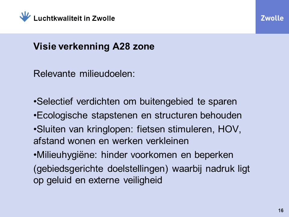 16 Luchtkwaliteit in Zwolle Visie verkenning A28 zone Relevante milieudoelen: Selectief verdichten om buitengebied te sparen Ecologische stapstenen en