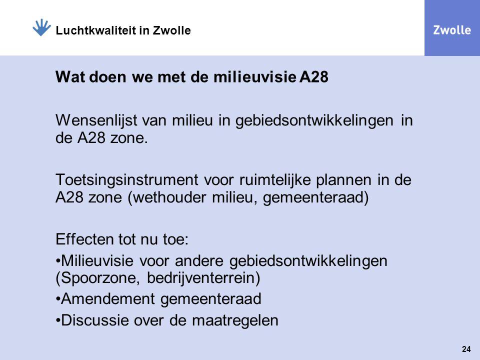 24 Luchtkwaliteit in Zwolle Wat doen we met de milieuvisie A28 Wensenlijst van milieu in gebiedsontwikkelingen in de A28 zone. Toetsingsinstrument voo