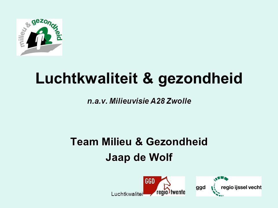 Luchtkwaliteit in Zwolle26 Luchtkwaliteit & gezondheid n.a.v. Milieuvisie A28 Zwolle Team Milieu & Gezondheid Jaap de Wolf