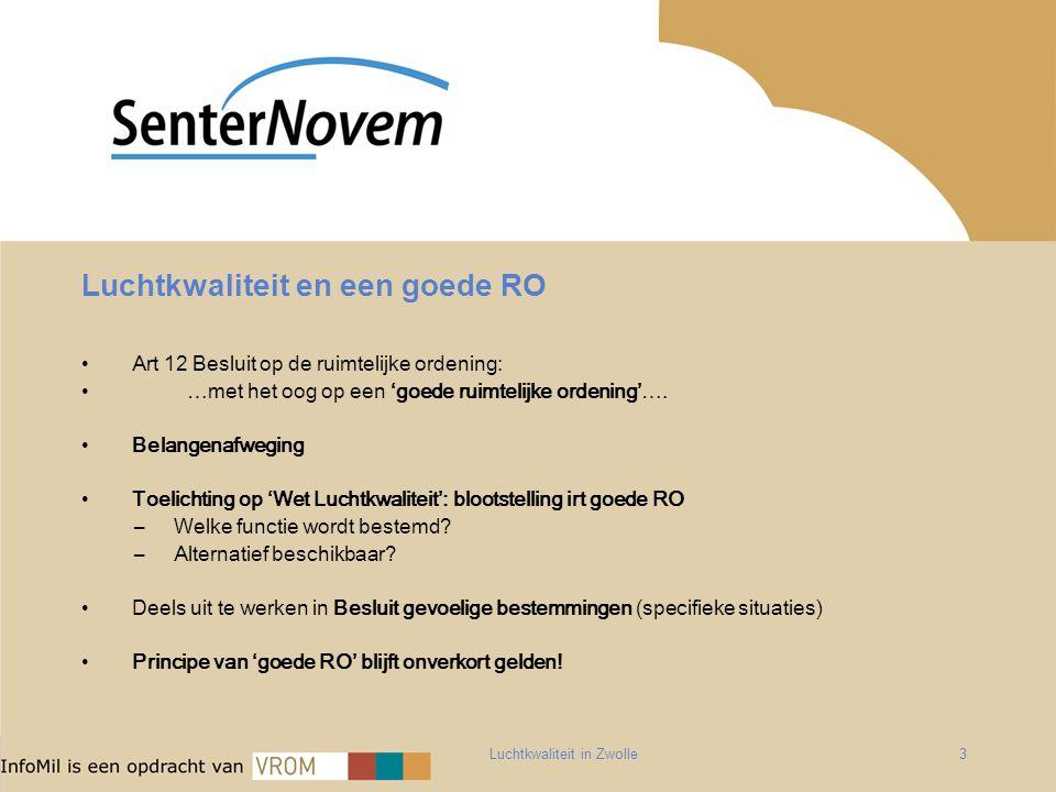 Luchtkwaliteit in Zwolle3 Luchtkwaliteit en een goede RO Art 12 Besluit op de ruimtelijke ordening: …met het oog op een 'goede ruimtelijke ordening'….