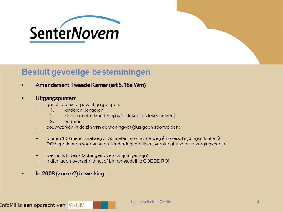 Luchtkwaliteit in Zwolle4 Besluit gevoelige bestemmingen Amendement Tweede Kamer (art 5.16a Wm) Uitgangspunten: –gericht op extra gevoelige groepen: 1