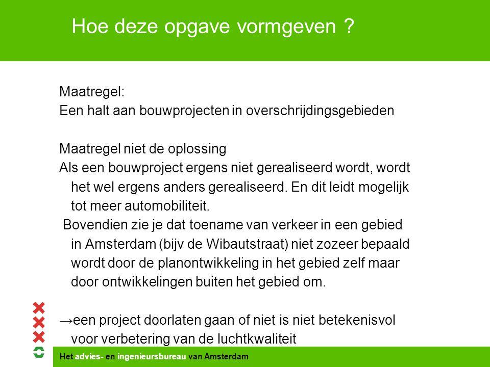 Het advies- en ingenieursbureau van Amsterdam Maatregel: Een halt aan bouwprojecten in overschrijdingsgebieden Maatregel niet de oplossing Als een bouwproject ergens niet gerealiseerd wordt, wordt het wel ergens anders gerealiseerd.
