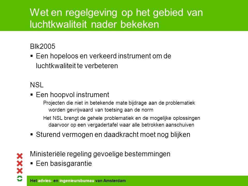 Het advies- en ingenieursbureau van Amsterdam Wet en regelgeving op het gebied van luchtkwaliteit nader bekeken Blk2005  Een hopeloos en verkeerd instrument om de luchtkwaliteit te verbeteren NSL  Een hoopvol instrument Projecten die niet in betekende mate bijdrage aan de problematiek worden gevrijwaard van toetsing aan de norm Het NSL brengt de gehele problematiek en de mogelijke oplossingen daarvoor op een vergadertafel waar alle betrokken aanschuiven  Sturend vermogen en daadkracht moet nog blijken Ministeriële regeling gevoelige bestemmingen  Een basisgarantie