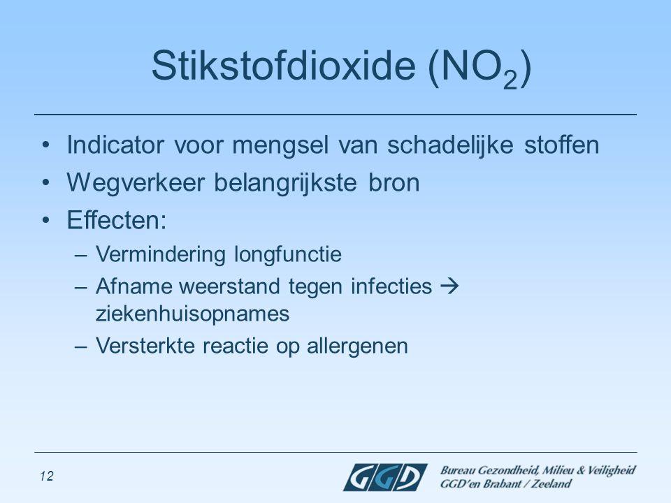 12 Stikstofdioxide (NO 2 ) Indicator voor mengsel van schadelijke stoffen Wegverkeer belangrijkste bron Effecten: –Vermindering longfunctie –Afname we