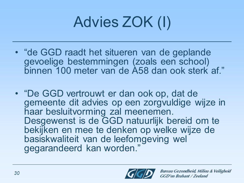 """30 Advies ZOK (I) """"de GGD raadt het situeren van de geplande gevoelige bestemmingen (zoals een school) binnen 100 meter van de A58 dan ook sterk af."""""""