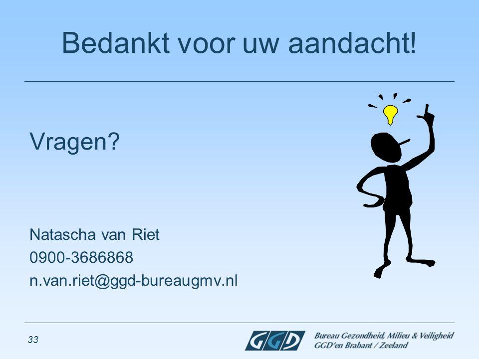 33 Bedankt voor uw aandacht! Vragen? Natascha van Riet 0900-3686868 n.van.riet@ggd-bureaugmv.nl