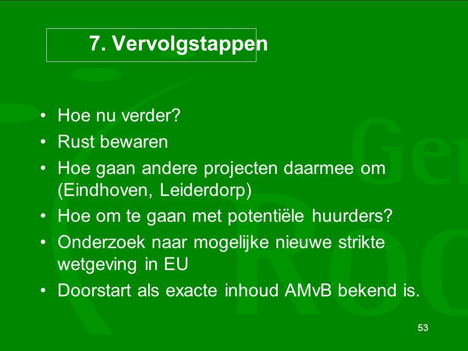 53 7. Vervolgstappen Hoe nu verder? Rust bewaren Hoe gaan andere projecten daarmee om (Eindhoven, Leiderdorp) Hoe om te gaan met potentiële huurders?
