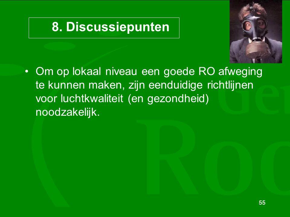55 8. Discussiepunten Om op lokaal niveau een goede RO afweging te kunnen maken, zijn eenduidige richtlijnen voor luchtkwaliteit (en gezondheid) noodz