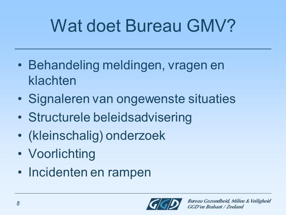 8 Wat doet Bureau GMV? Behandeling meldingen, vragen en klachten Signaleren van ongewenste situaties Structurele beleidsadvisering (kleinschalig) onde