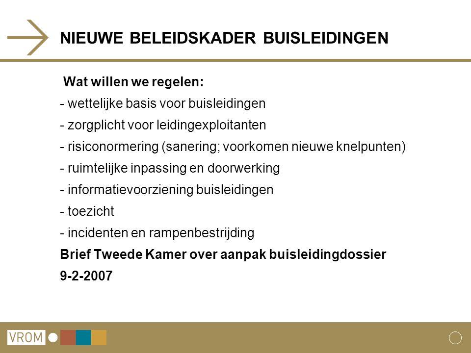 NIEUWE BELEIDSKADER BUISLEIDINGEN Wat willen we regelen: - wettelijke basis voor buisleidingen - zorgplicht voor leidingexploitanten - risiconormering (sanering; voorkomen nieuwe knelpunten) - ruimtelijke inpassing en doorwerking - informatievoorziening buisleidingen - toezicht - incidenten en rampenbestrijding Brief Tweede Kamer over aanpak buisleidingdossier 9-2-2007