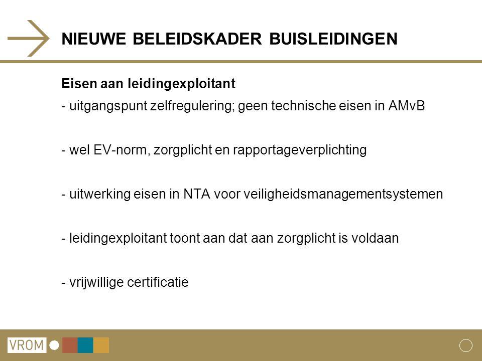 NIEUWE BELEIDSKADER BUISLEIDINGEN Eisen aan leidingexploitant - uitgangspunt zelfregulering; geen technische eisen in AMvB - wel EV-norm, zorgplicht en rapportageverplichting - uitwerking eisen in NTA voor veiligheidsmanagementsystemen - leidingexploitant toont aan dat aan zorgplicht is voldaan - vrijwillige certificatie
