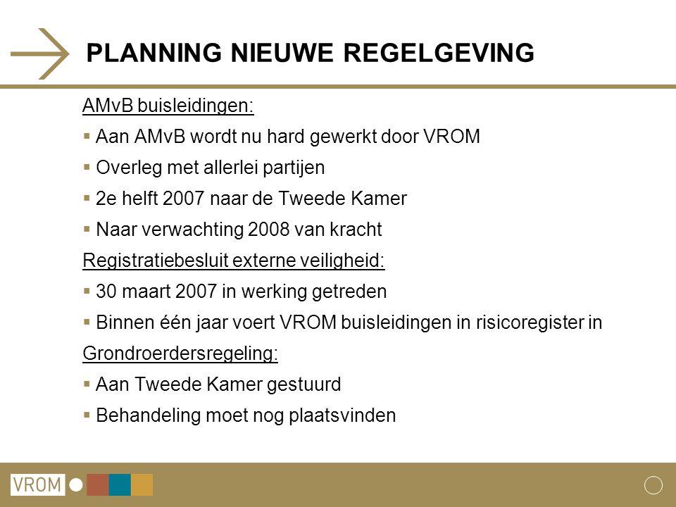 PLANNING NIEUWE REGELGEVING AMvB buisleidingen:  Aan AMvB wordt nu hard gewerkt door VROM  Overleg met allerlei partijen  2e helft 2007 naar de Twe